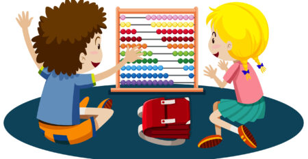 Young children playing with an abacus